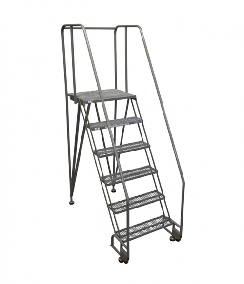 Cotterman Straddle Base Tilt And Roll Stainless Steel Ladder