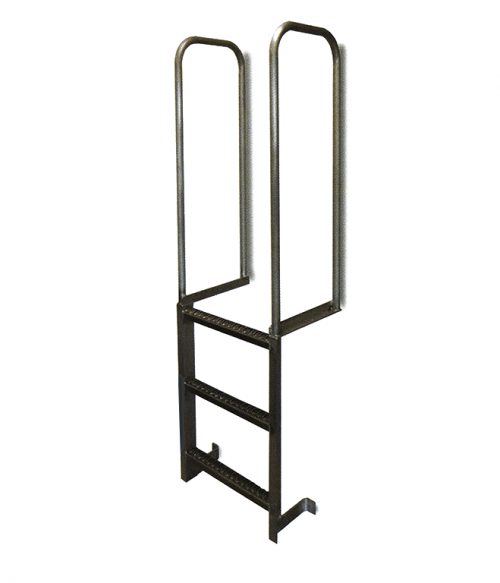 Aluminum Wall Mount Walk Thru Fixed Dock Ladder