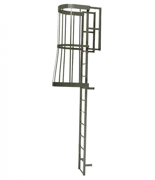 Steel Fixed Vertical Ladder With Cage