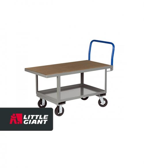 Hardwood over Steel Deck Work Height Platform Truck with Lower Shelf