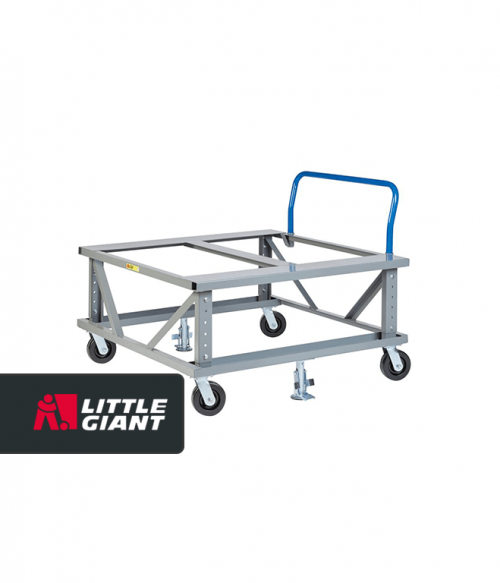 Ergonomic Adjustable Height Mobile Pallet Stand with Handle