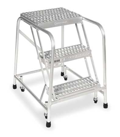 "3 STEPS, 30"" H ALUMINUM TILT AND ROLL LADDER, 350 LB. LOAD CAPACITY"
