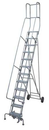 "12 Steps, 120"" H Steel Rolling Ladder, 300 lb. Load Capacity"