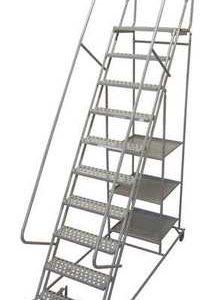 """10 Steps, 100"""" H Steel Rolling Ladder, 300 lb. Load Capacity"""