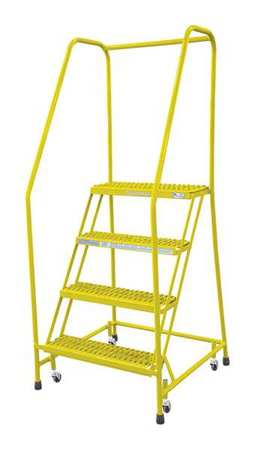 4 Steps 40 Quot H Steel Rolling Ladder 450 Lb Load Capacity