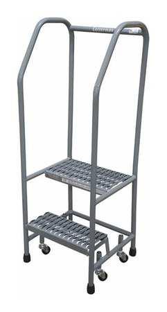 """2 Steps, 20"""" H Steel Rolling Ladder, 450 lb. Load Capacity"""