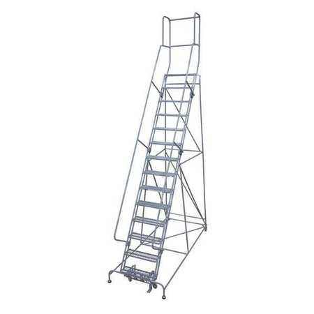 """14 Steps, 140"""" H Steel Rolling Ladder, 450 lb. Load Capacity"""