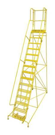 "15 Steps, 150"" H Steel Rolling Ladder, 450 lb. Load Capacity"