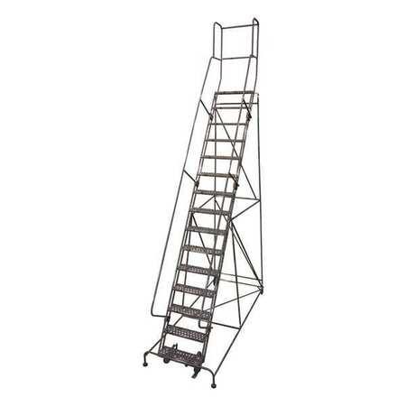 """15 Steps, 150"""" H Steel Rolling Ladder, 450 lb. Load Capacity"""