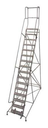 """16 Steps, 160"""" H Steel Rolling Ladder, 450 lb. Load Capacity"""
