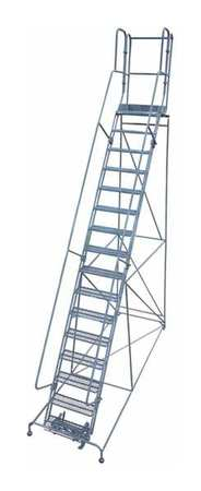 "16 Steps, 160"" H Steel Rolling Ladder, 450 lb. Load Capacity"
