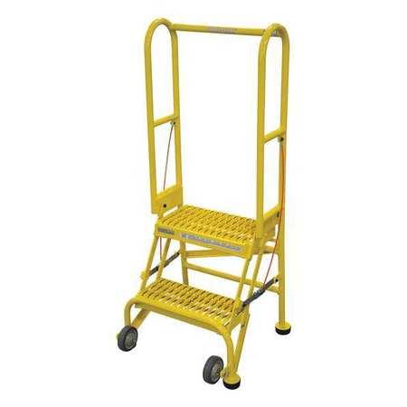 """2 Steps, 20"""" H Steel Rolling Ladder, 350 lb. Load Capacity"""
