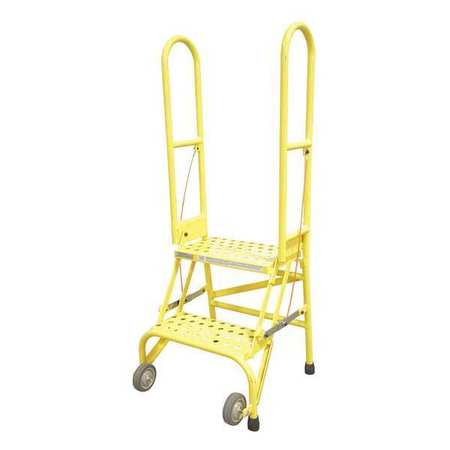 2 Steps 20 Quot H Steel Rolling Ladder 350 Lb Load Capacity