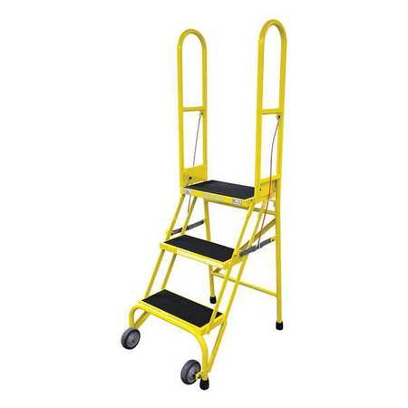 "3 STEPS, 30"" H STEEL ROLLING LADDER, 350 LB. LOAD CAPACITY"