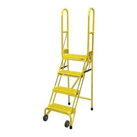 """4 STEPS, 40"""" H STEEL ROLLING LADDER, 350 LB. LOAD CAPACITY"""