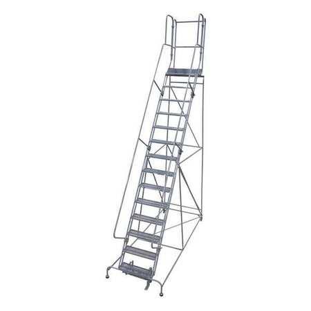 """17 Steps, 170"""" H Steel Rolling Ladder, 450 lb. Load Capacity"""