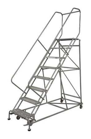 """10 Steps, 100"""" H Steel Rolling Ladder, 450 lb. Load Capacity"""