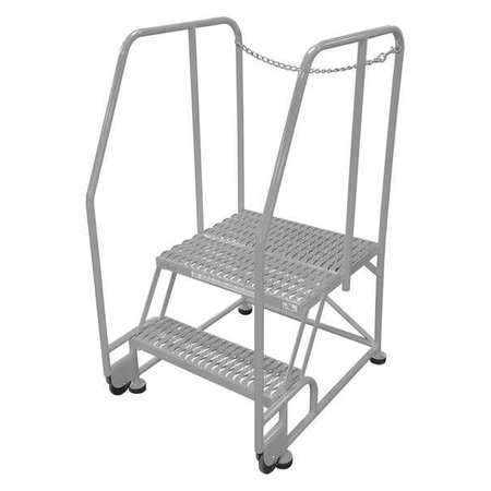 "2 Steps, 20"" H Steel Rolling Ladder, 450 lb. Load Capacity"