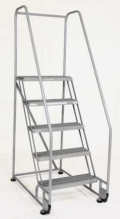"2 Steps, 20"" H Steel Tilt and Roll Ladder, 450 lb. Load Capacity"