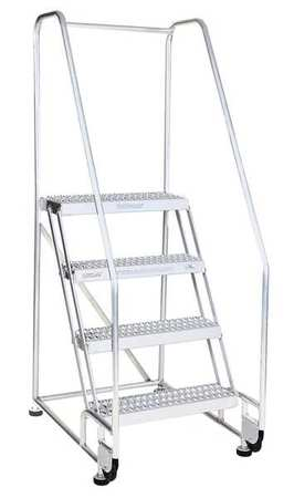 "2 Steps, 20"" H Aluminum Tilt and Roll Ladder, 350 lb. Load Capacity"