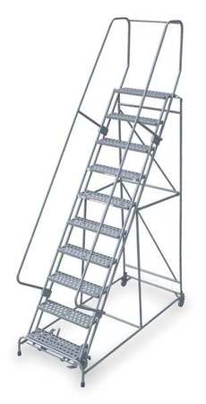 "10 Steps, 100"" H Steel Rolling Ladder, 450 lb. Load Capacity"