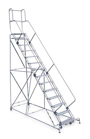 "14 Steps, 140"" H Steel Rolling Ladder, 800 lb. Load Capacity"