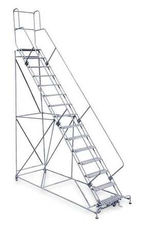 "15 Steps, 150"" H Steel Rolling Ladder, 800 lb. Load Capacity"