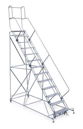 """13 Steps, 130"""" H Steel Rolling Ladder, 800 lb. Load Capacity"""