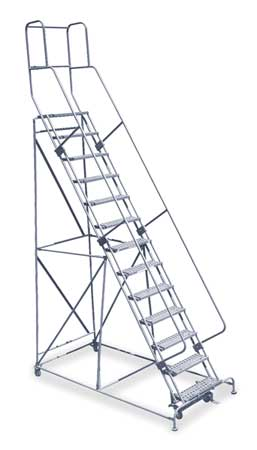 "13 Steps, 130"" H Steel Rolling Ladder, 450 lb. Load Capacity"