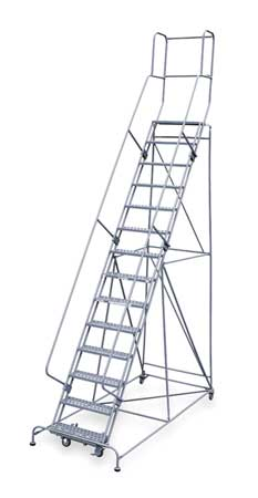 "14 Steps, 140"" H Steel Rolling Ladder, 450 lb. Load Capacity"