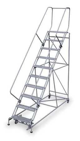 """10 Steps, 100"""" H Steel Rolling Ladder, 800 lb. Load Capacity"""