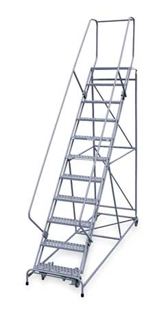 "11 Steps, 110"" H Steel Rolling Ladder, 800 lb. Load Capacity"