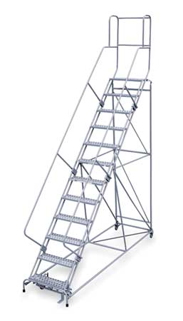 "12 Steps, 120"" H Steel Rolling Ladder, 800 lb. Load Capacity"