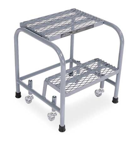 """20"""" H Stainless Steel Rolling Ladder, 450 lb. Load Capacity"""