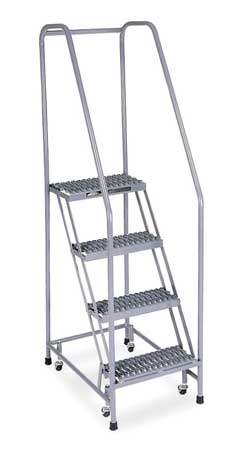 """4 STEPS, 40"""" H STAINLESS STEEL ROLLING LADDER, 450 LB. LOAD CAPACITY"""