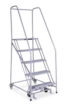 """5 STEPS, 50"""" H STAINLESS STEEL ROLLING LADDER, 450 LB. LOAD CAPACITY"""