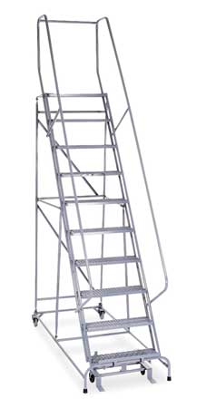 "10 Steps, 100"" H Steel Rolling Ladder with 450 lb. Load Capacity"