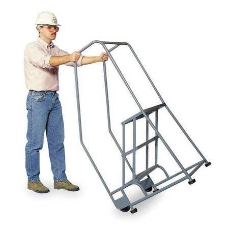 """2 Steps, 20"""" H Steel Tilt and Roll Ladder, 450 lb. Load Capacity"""