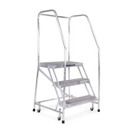 "2 Steps, 20"" H Aluminum Rolling Ladder, 350 lb. Load Capacity"