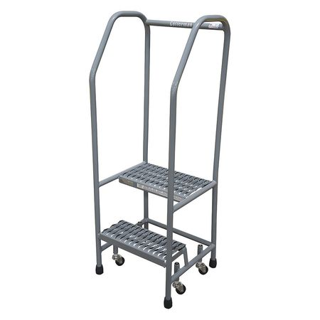 "2 Steps, 20"" H Stainless Steel Rolling Ladder, 450 lb. Load Capacity"