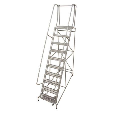 """12 Steps, 120"""" H Steel Rolling Ladder, 450 lb. Load Capacity"""