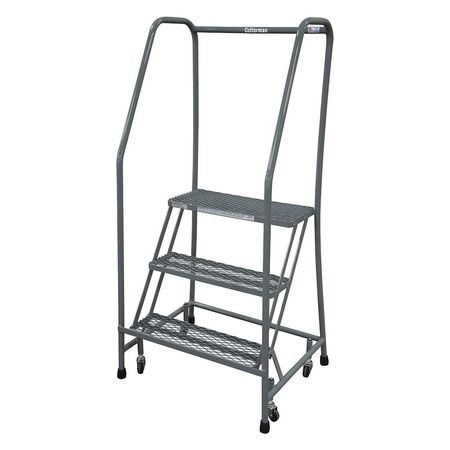 """3 STEPS, 30"""" H STAINLESS STEEL ROLLING LADDER, 450 LB. LOAD CAPACITY"""