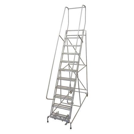 """11 Steps, 110"""" H Steel Rolling Ladder, 450 lb. Load Capacity"""