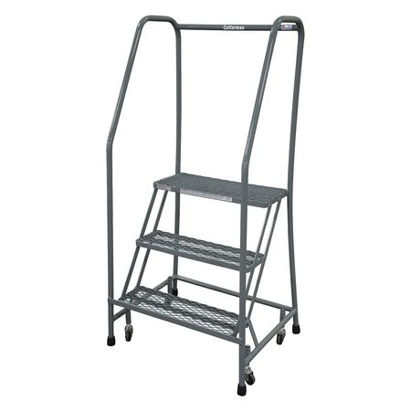 "3 STEPS, 30"" H STAINLESS STEEL ROLLING LADDER, 450 LB. LOAD CAPACITY"