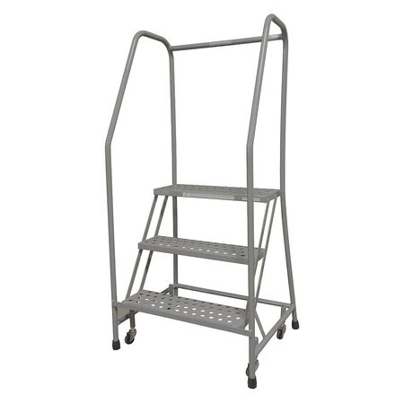 3 Steps 30 Quot H Stainless Steel Rolling Ladder 450 Lb