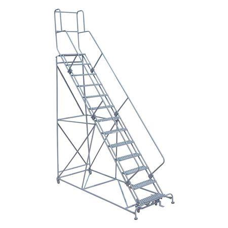 """13 Steps, 130"""" H Steel Rolling Ladder, 450 lb. Load Capacity"""