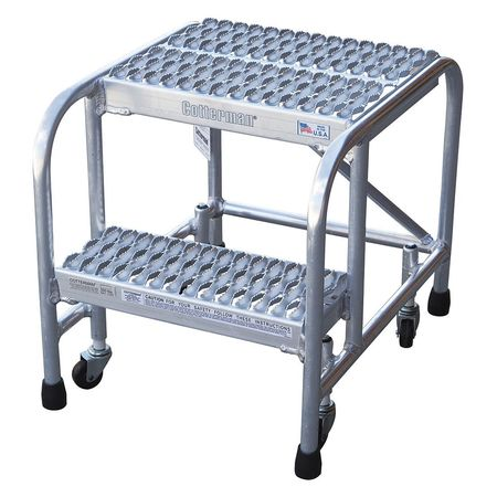 "2 Steps, 20"" H Aluminum Rolling Ladder, 350 lb. Load Capacity"