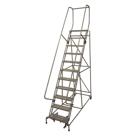 "11 Steps, 110"" H Steel Rolling Ladder, 450 lb. Load Capacity"