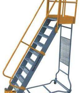 """10 Steps, 100"""" H Steel Rolling Ladder, 1000 lb. Load Capacity"""