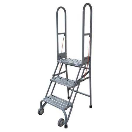 "4 STEPS, 40"" H STEEL FOLDING ROLLING LADDER, 350 LB. LOAD CAPACITY"
